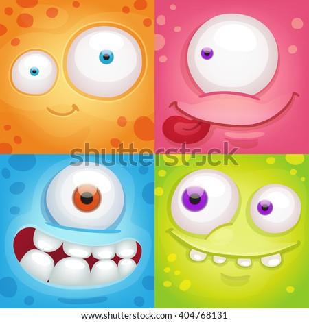 Cartoon monster faces - stock vector