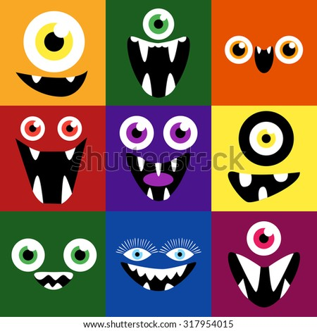 Cartoon monster faces set. Smiles and eyes. Cute square avatars and icons