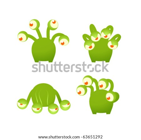 Cartoon monster in various poses - stock vector
