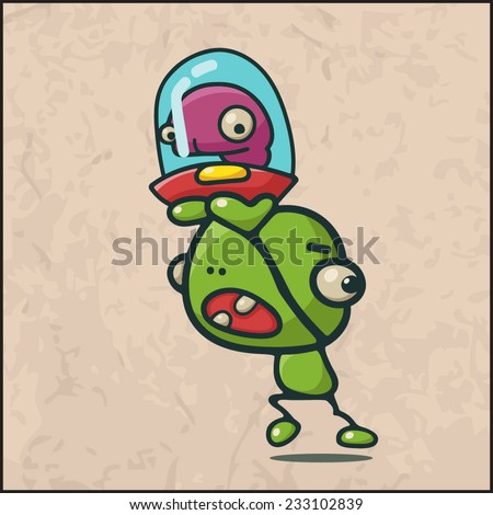 Cartoon monster on the grunge background - stock vector