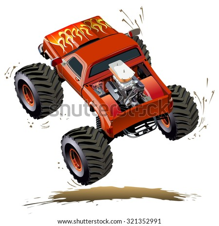 Cartoon Monster Truck. Available EPS-10 separated by groups and layers with transparency effects for one-click repaint - stock vector