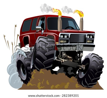 Cartoon Monster Truck. Available EPS-10 vector format with transparency effects for one-click repaint - stock vector