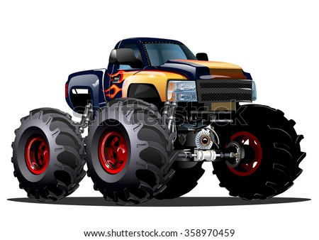 Cartoon Monster Truck. Available EPS-10 vector formats separated by groups and layers for easy edit - stock vector