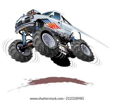 Cartoon Monster Truck EPS-10 with transparency effects for one-click repaint  - stock vector