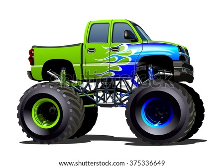 Cartoon Monster Truck / Truck Object / Truck Picture / Truck Image / Truck Art / Car JPG / Truck JPEG / Car EPS / Car AI - stock vector EPS-10 separated by groups and layers for one-click repaint - stock vector
