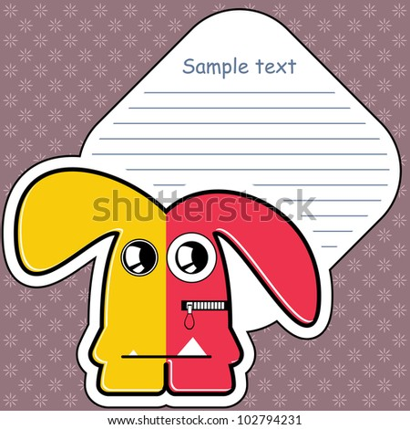 Cartoon monster with message cloud - stock vector