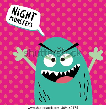 Cartoon monster with speech bubble. Happy Halloween. Vector seamless pattern for web page backgrounds, postcards, greeting cards, invitations, pattern fills, surface textures. - stock vector