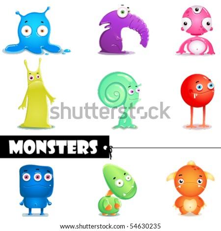 Cartoon monsters - stock vector