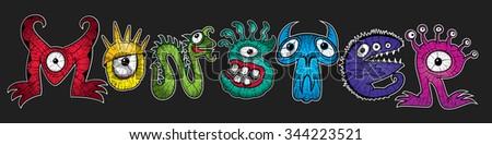 cartoon monsters halloween text vector illustrations - stock vector