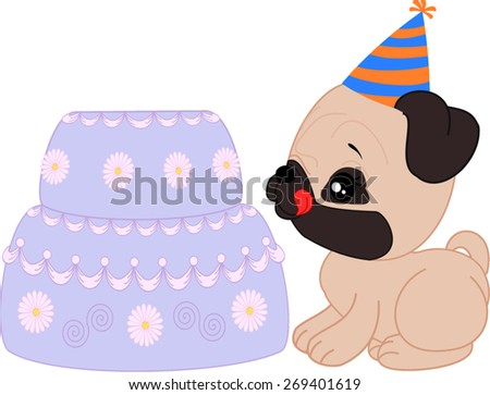 Cartoon mops girl puppy with birthday cake.   - stock vector
