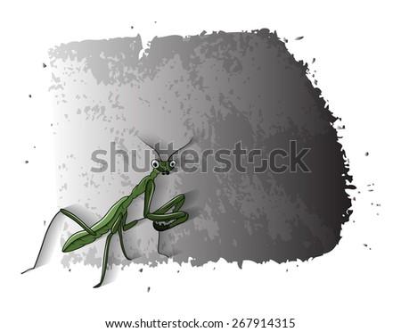 Cartoon Mosquitoes Grunge Banner - stock vector