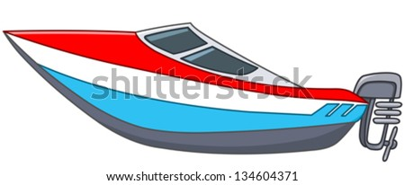 Cartoon motor boat - stock vector