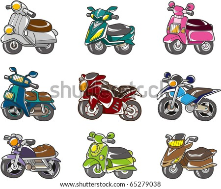 cartoon motorcycle - stock vector