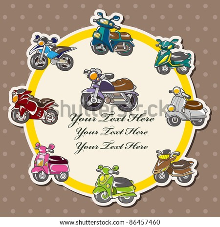 cartoon motorcycle card - stock vector