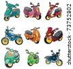cartoon motorcycle icon - stock vector
