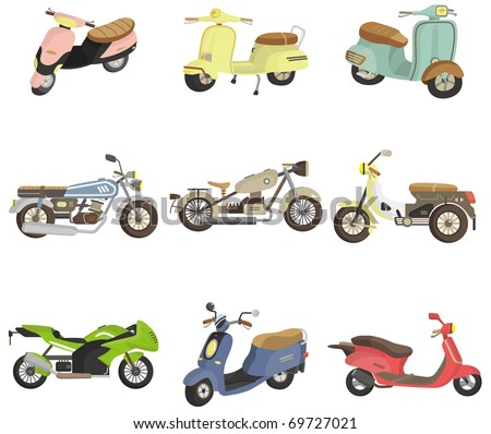 cartoon motorcycle icon - stock vector