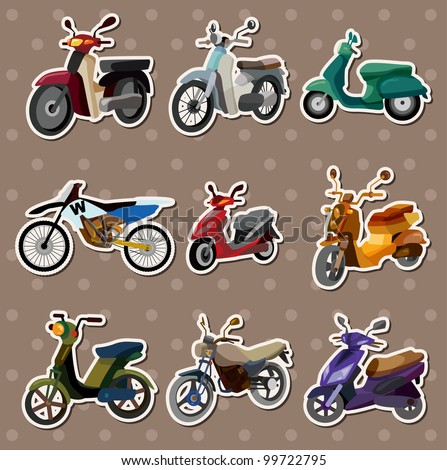 cartoon motorcycle stickers - stock vector