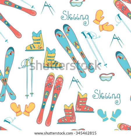 Cartoon Mountain Ski Seamless Pattern. Hand drawn colorful vector background with mountain ski, boots, glove, mask and sticks for any design. Printable for wrap.