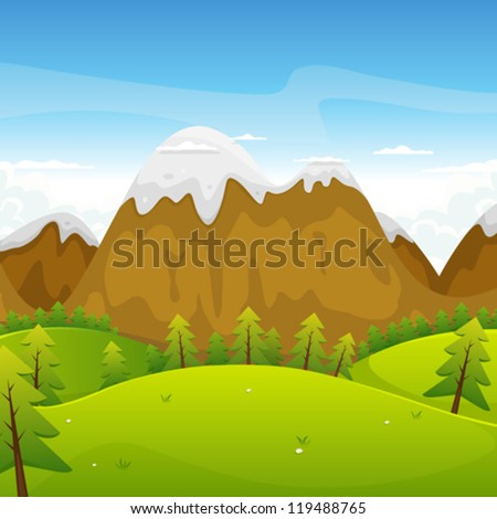 Cartoon Mountains Landscape/ Illustration of a cartoon summer or spring high mountain landscape for vacations, travel and seasonal holidays background - stock vector