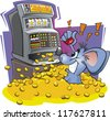 Cartoon mouse wins big on a slot / fruit machine - stock vector