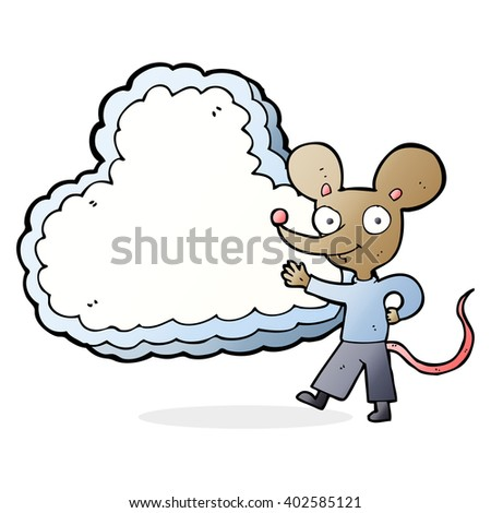 cartoon mouse with cloud text space - stock vector