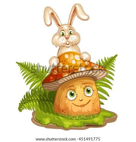 Cartoon mushroom and rabbit - stock vector