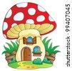 Cartoon mushroom house - vector illustration. - stock vector