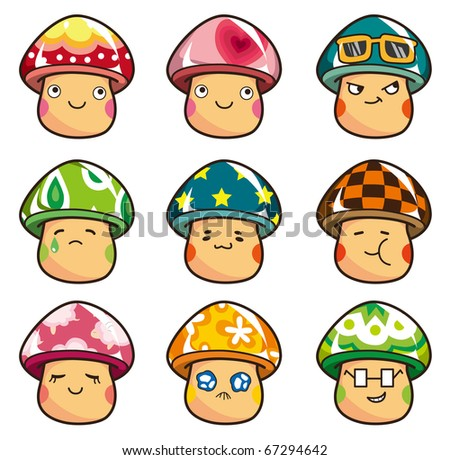 cartoon Mushrooms icon - stock vector
