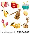 cartoon musical instrument  icon - stock vector