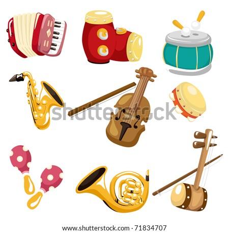cartoon musical instrument  icon - stock vector