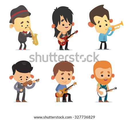 Cartoon Musicians - stock vector
