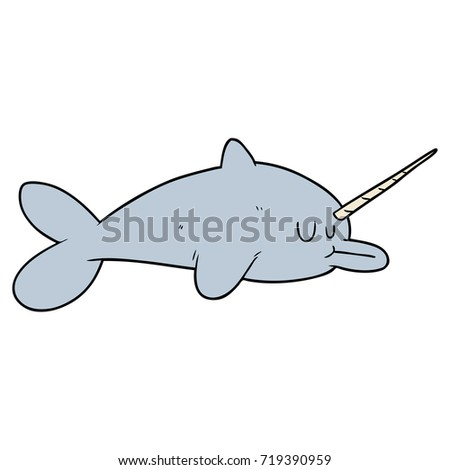 Funny Narwhal Cartoon Narwhal Cartoon Stock ...