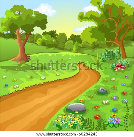 cartoon natural landscape - stock vector