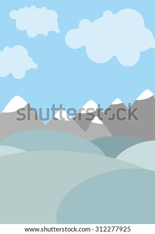 Cartoon natural landscape. Sky with clouds. Mountains and fields. Cute Vector background
