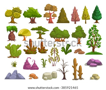 Cartoon nature landscape elements set, trees, stones and grass clip art, isolated on white - stock vector