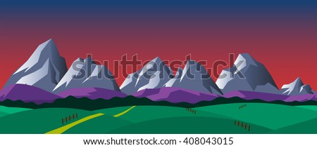 Cartoon nature seamless horizontal landscape with mountains, hills and night sky. Vector illustration. Parallax background for endless runner games. - stock vector