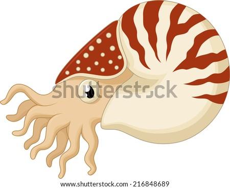Cartoon nautilus - stock vector