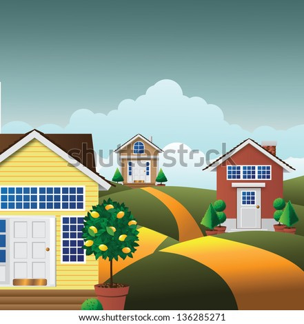 Cartoon Neighborhood. EPS 10 vector, grouped for easy editing. No ope shapes or paths. - stock vector
