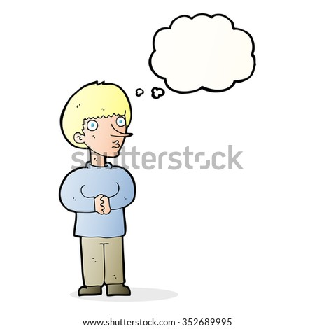 cartoon nervous man with thought bubble - stock vector