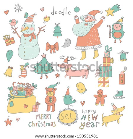 Cartoon New Year and Christmas set in vector. Cute Santa Claus, Snowman, fir tree, gifts, dogs, bear, toys, penguin and other holiday elements - stock vector