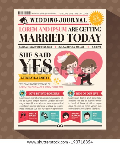 Cartoon Newspaper Journal Wedding Invitation Vector Stock Vector