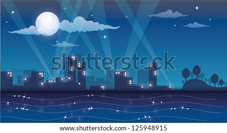 cartoon night cityscape - stock vector