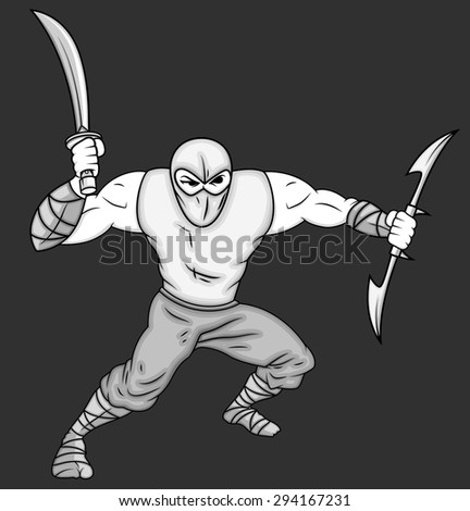 Cartoon Ninja Fighting Pose - stock vector