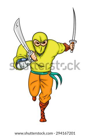 Cartoon Ninja Running - stock vector