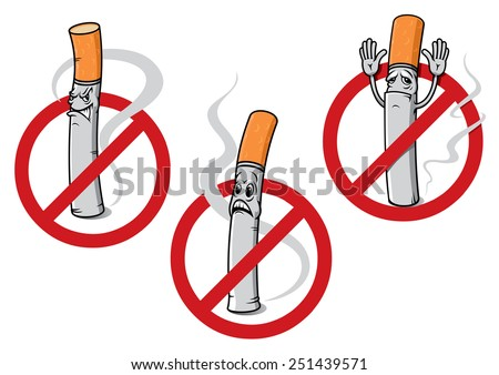Cartoon no smoking signs depicting dismayed, angry or surrendering cigarettes with curling smoke - stock vector
