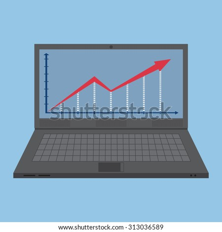 Cartoon notebook laptop with finance graph, Vector Illustration EPS 10. - stock vector