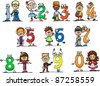 Cartoon numbers and children - stock photo