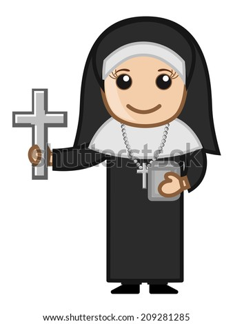Cartoon Nun Woman Asking for Donation - stock vector