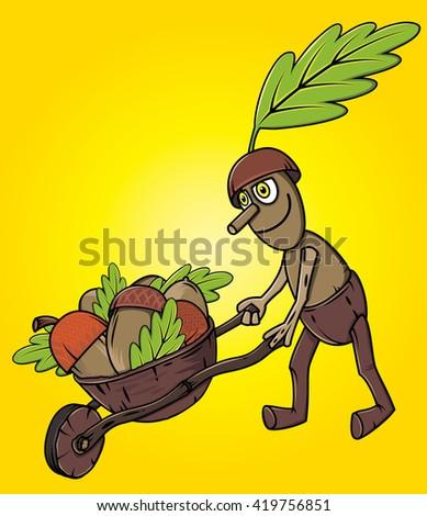 cartoon oak tree mascot pushing handcart with accorns autumn leaves season  - stock vector