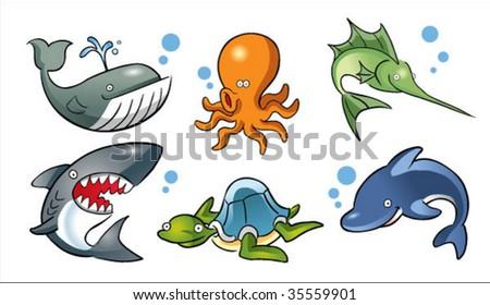 cartoon ocean fish - stock vector